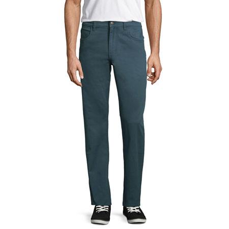 St. John's Bay Stretch Straight Fit 5 Pocket Pants, 29 30, Blue