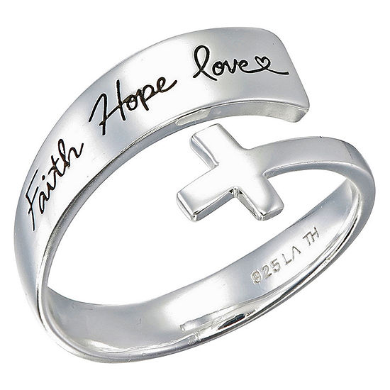 Footnotes Friend Faith Hope Love Sterling Silver Cross Band