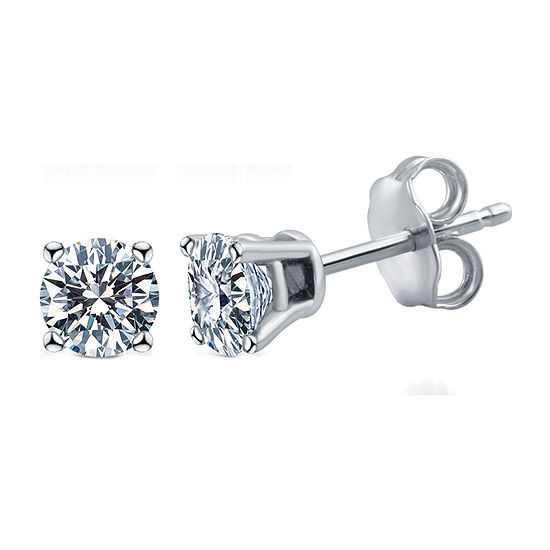 Deluxe Collection 1/2 CT. T.W. Genuine White Diamond 14K White Gold 3.8mm Stud Earrings