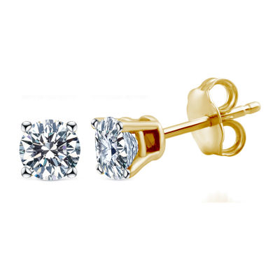 Deluxe Collection 1/4 CT. T.W. Genuine White Diamond 14K Gold 3.2mm Stud Earrings