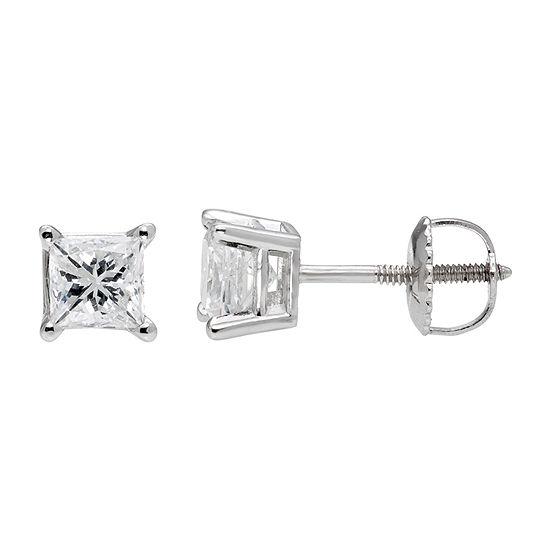 Premier Collection 1 CT. T.W. Princess-Cut Genuine Diamond Stud Earrings