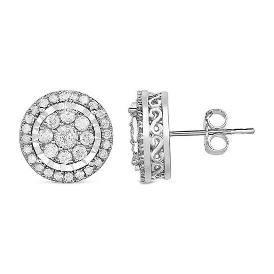 TruMiracle® 1 CT. T.W. Round White Genuine Diamond 10K Gold Stud Earrings