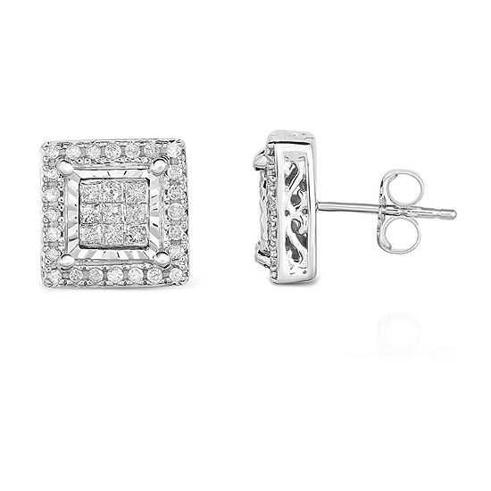 TruMiracle® 1/2 CT. T.W. Princess White Diamond 10K Gold Stud Earrings