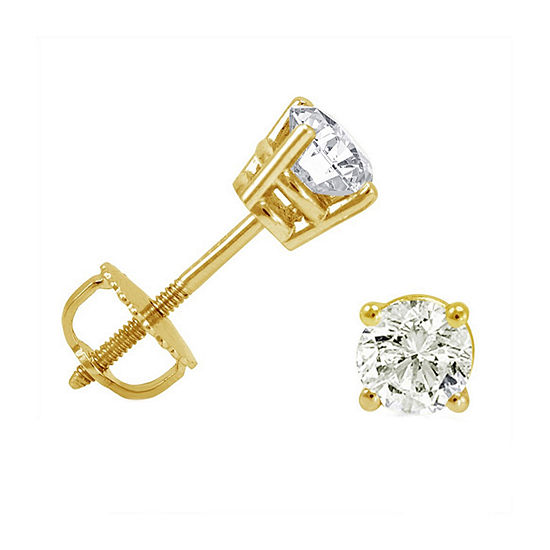 2 CT. T.W. Genuine White Diamond 14K Gold 7.7mm Stud Earrings