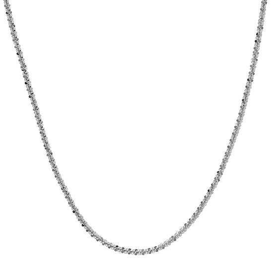 """Made in Italy 14K White Gold 16-20"""" 1.4mm Crisscross Chain"""