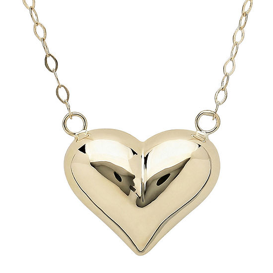 14K Yellow Gold Polished Puffed Heart Necklace