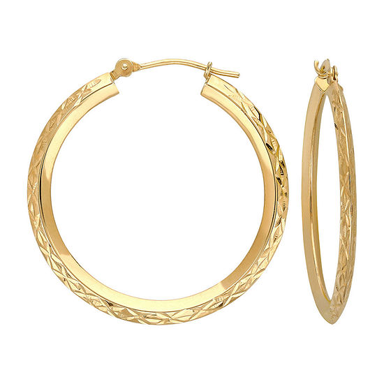 14K Gold Star-Cut Hoop Earrings