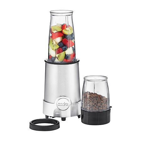 Shake up your kitchen routine with this 5-in-1 power blender from cooks. Whether you\\\'re whipping up a healthy smoothie or mixing and blending homemade sauce, every process is easier and more convenient with this high-power blender.Included: 1 Large Cup (13.5 oz.), 1 Small Cup (6 oz.), 1 Lip LidHigh Power: Base is powered with a 120v, 60Hz, 240W motorChops, Grinds, Mixes, Whips and Blends: Serve fruits and vegetables in healthy smoothiesEasy to use: Enjoy fresh ground coffee, spices, seeds and nuts for homemade spreadsComfort Lid: Makes drinking directly from the blending cup comfortableStainless steel blending bladeStainless steel grinding bladeHand wash base; blades and cups are top-rack dishwasher safeImported