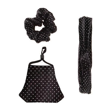 Unisex Adult Face Mask & Hair Set, One Size , Black