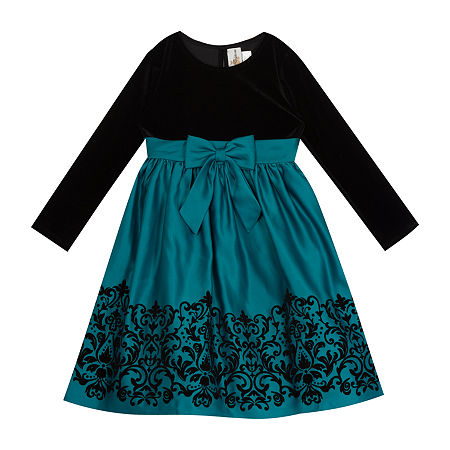 Victorian Kids Costumes & Shoes- Girls, Boys, Baby, Toddler Rare Editions Big Girls Long Sleeve Fit  Flare Dress 10  Green $37.49 AT vintagedancer.com