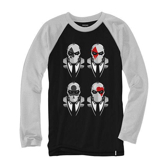 Big Boys Crew Neck Fortnite Long Sleeve Graphic T-Shirt