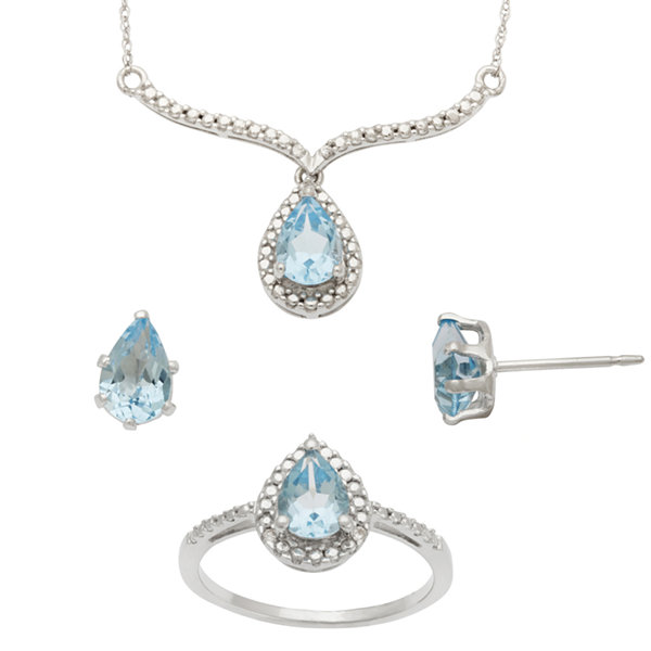 Irradiated Blue Topaz & Lab-Created White Sapphire 3-Pc. Set