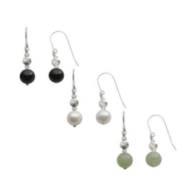 Gemstone & Cultured Freshwater Pearl 3-pr. Drop Earring Set
