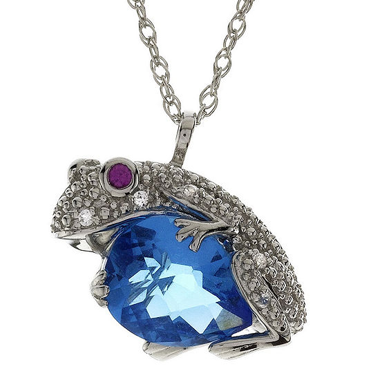 Lab Created Blue Topaz Ruby White Sapphire Frog Pendant Necklace