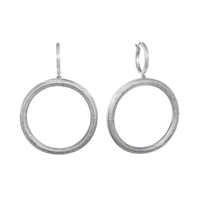 Diamond Addiction Pure Silver-Plated 1/10 CT. T.W. Diamond Hoop Earrings