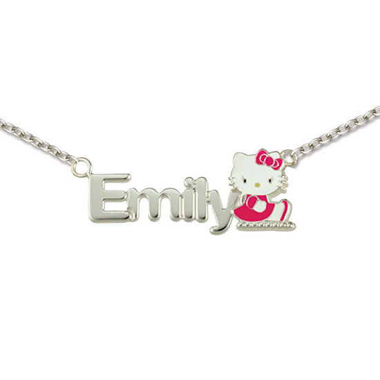 Hello Kitty® Personalized Girls Sterling Silver and Enamel Name Necklace