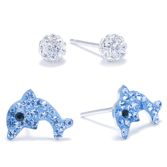 Silver Treasures Crystal Dolphin & Ball Stud 2-pc. Blue Earring Set