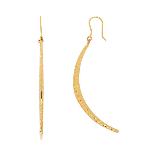 LIMITED QUANTITIES! 10K Yellow Gold Curved Bar Drop Earrings