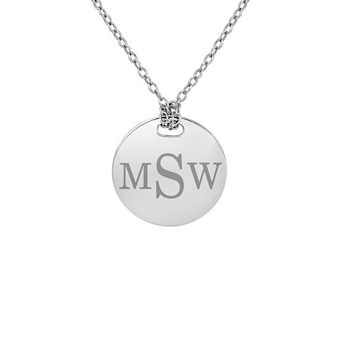 Personalized Sterling Silver 16mm Round Monogram Pendant Necklace