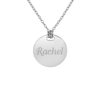Personalized Sterling Silver 16mm Round Name Pendant Necklace