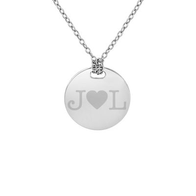 Personalized Sterling Silver 16mm Round Couple's Initial Pendant Necklace