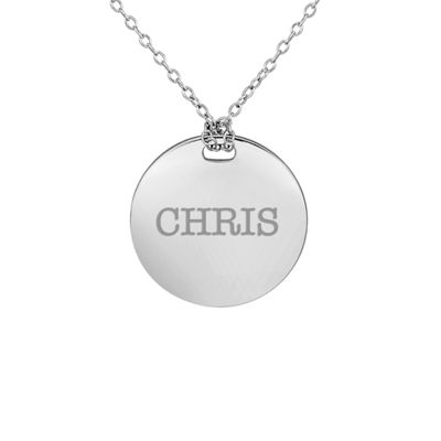 Personalized Sterling Silver 19mm Round Name Pendant Necklace