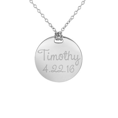 Personalized Sterling Silver 19mm Round Name & Date Pendant Necklace