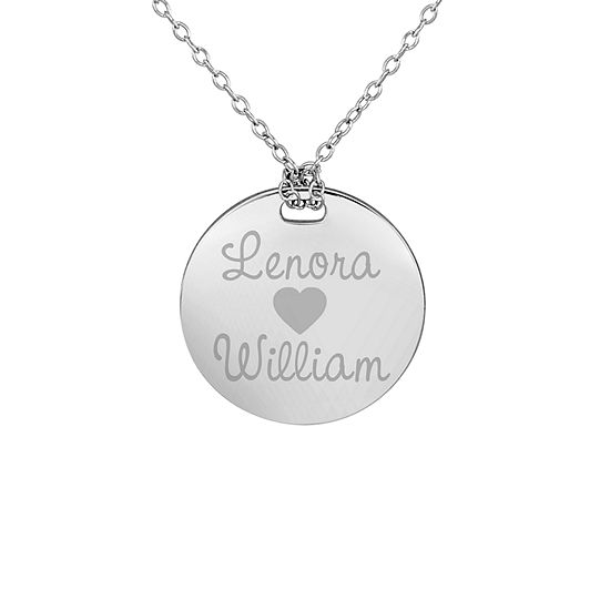 Personalized Sterling Silver 19mm Round Couple's Name Pendant Necklace
