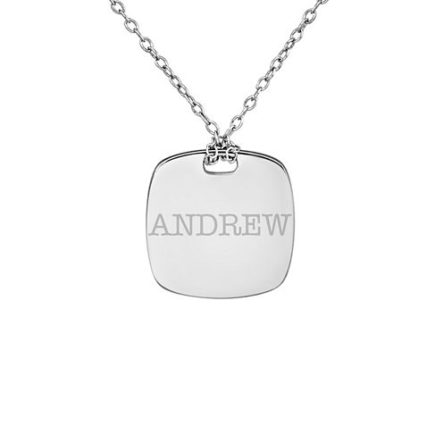 Personalized Sterling Silver 16mm Name Pendant Necklace