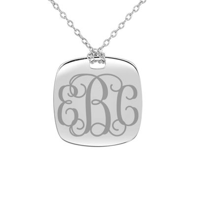 Personalized Sterling Silver 20mm Monogram Pendant Necklace