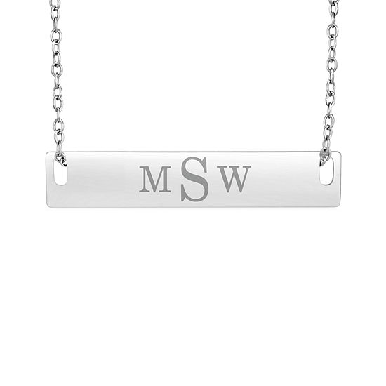 Personalized Sterling Silver Monogram Bar Necklace