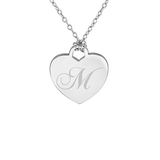Personalized Sterling Silver Initial Heart Pendant Necklace