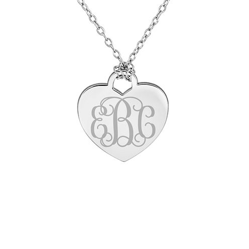 Personalized Sterling Silver Monogram Heart Pendant Necklace