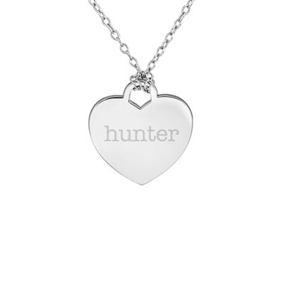 Personalized Sterling Silver Name Heart Pendant Necklace