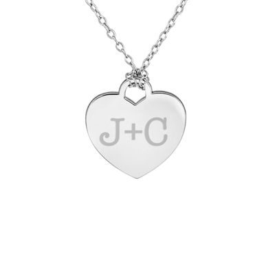 Personalized Sterling Silver Couple's Initial Heart Pendant Necklace