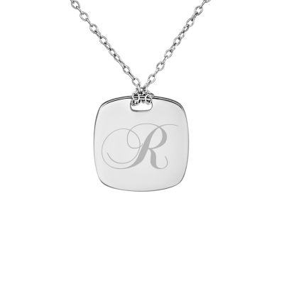 Personalized Sterling Silver 16mm Initial Pendant Necklace