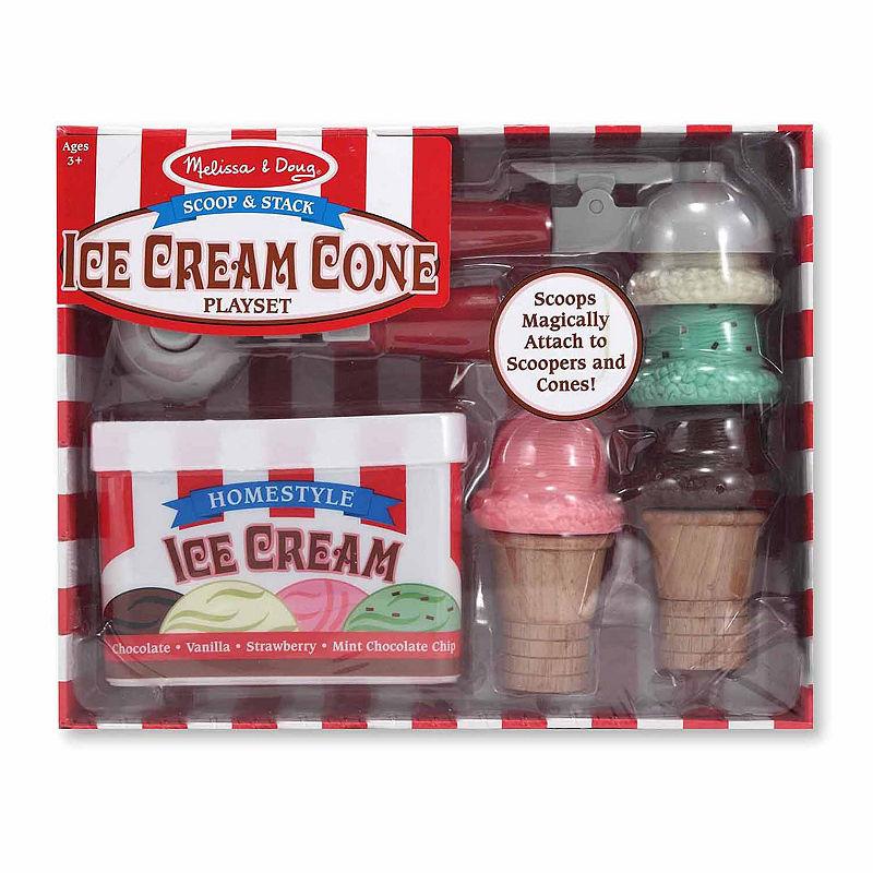 Melissa & Doug Scoop & Stack Ice Cream Cone Playset, Multi-colored, One Size