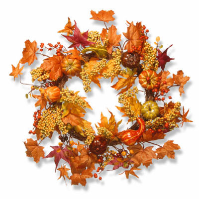 National Tree Co. 24 Inch Maple And Pumpkin Wreath