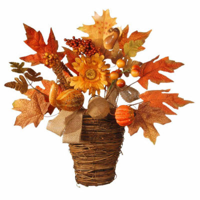 National Tree Co. 16 Inch Maple And Pumpkin Basket Tabletop Decor