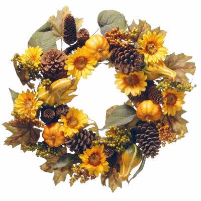 National Tree Co. 22 Inch Pumpkin And Sunflowers Wreath