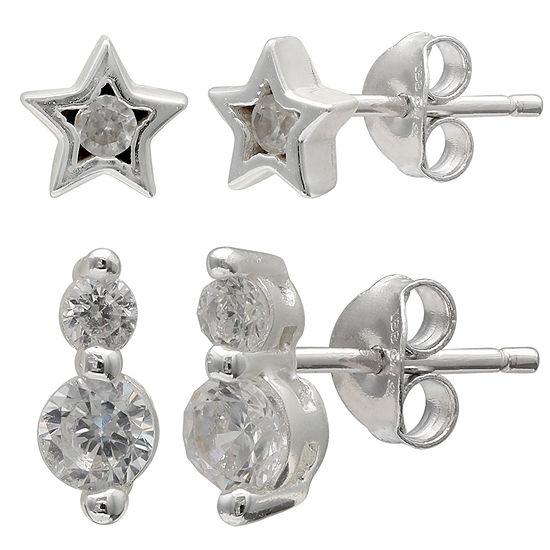 Silver Treasures 2 Pair Round Earring Set