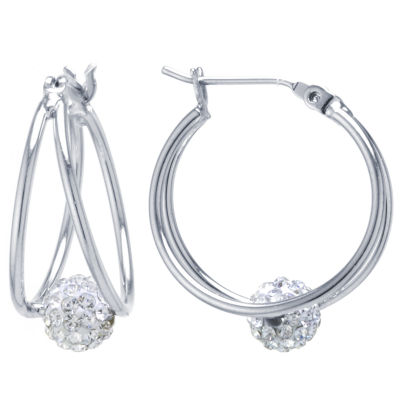 Sparkle Allure Clear Crystal Pave Ball Silver Over Brass Drop Earrings