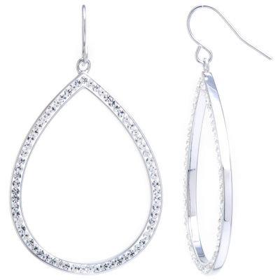 Sparkle Allure Large Open Teardrop Clear Crystal Silver Plated Drop Earrings