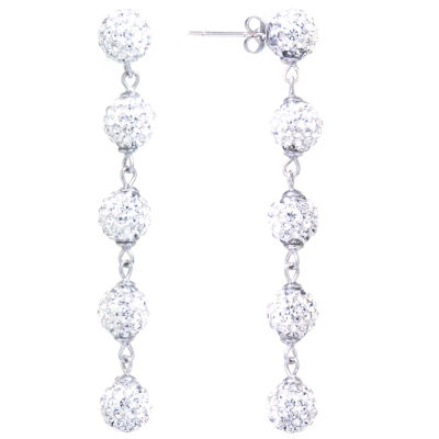 Sparkle Allure Crystal 5 Pave Ball Silver Plated Drop Earrings