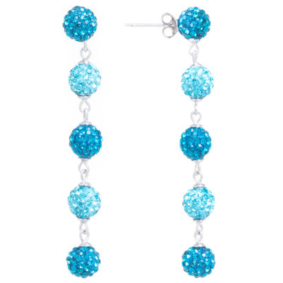 Sparkle Allure Aqua Crystal 5 Pave Ball Silver Plated Drop Earrings