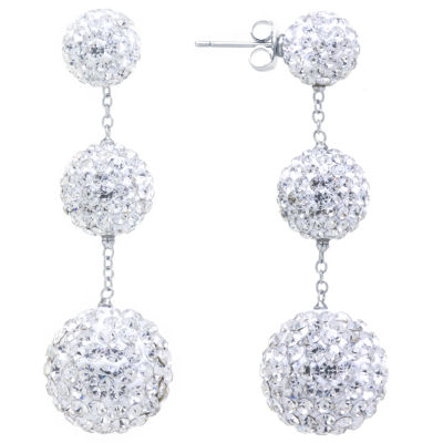 Sparkle Allure Crystal Graduated Pave Ball Silver Plated Drop Earrings