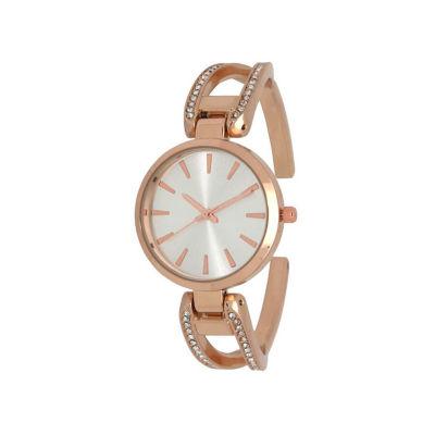 Olivia Pratt Rhinestone Womens Rose Goldtone Strap Watch-H10042rosegold
