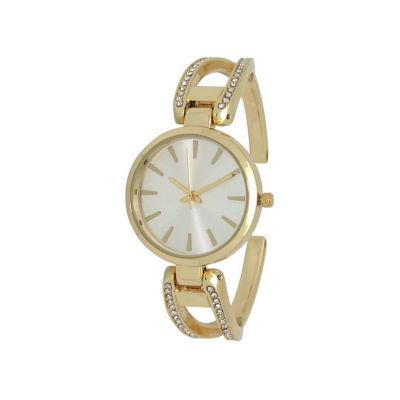 Olivia Pratt Rhinestone Womens Silver Tone Strap Watch-H10042gold