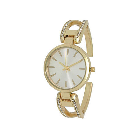 Olivia Pratt Rhinestone Womens Silver Tone Strap Watch-H10042gold. One Size