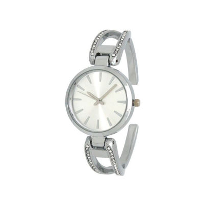 Olivia Pratt Rhinestone Womens Gold Tone Strap Watch-H10042silver
